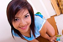 Pretty Boon Strips Tight Blue Shorts And Spreads Her Shaved Puss