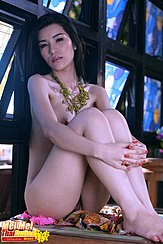 Mei Mei Seated Nude On Bench Knees Drawn Up Bare Feet