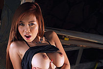 Breasty Babe Rita Wong Strips Denim Shorts And Spreads Pussy