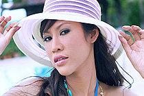 Breasty Nee Nalinda Strips Bikini In Sun Hat And Poses Nude
