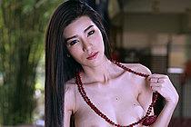 Busty Beauty Mei Mei Strips Plaid Skirt Over Chess Board