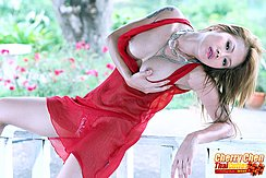Cherry Chen Cupping Breasts In Red Lingerie